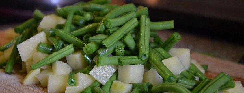 Trofie con pesto, judias y patatas
