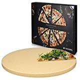 Navaris Piedra para pizza de cordierita - Piedra para horno redonda para pizza o pan - Bandeja para parrilla barbacoa o grill - XL 30.5CM