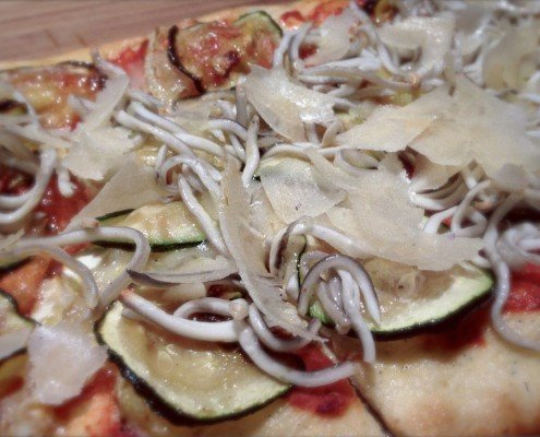pizza de calabacin y gulas