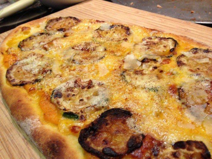Pizza de calabacín con gorgonzola